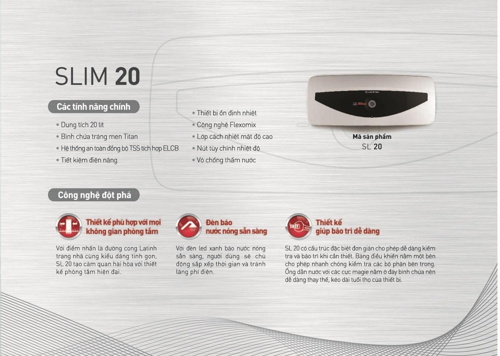 Thông số kỹ thuật của bình nóng lạnh Ariston 20L